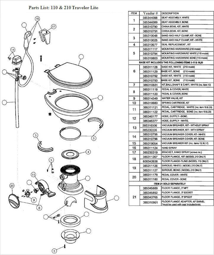 Trekwood RV Parts - BigSky / 2004 / Plumbing / Toilet / Toilet ...
