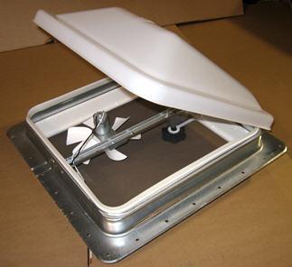 Vent - Roof - 12V - Radius - UL - Hi Profile - Mill Finish - White
