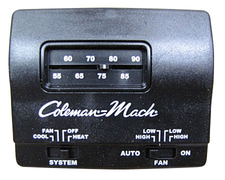 A/C - Thermostat - 12V - Heat/Cool - Black